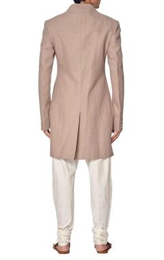 Taupe cotton sherwani