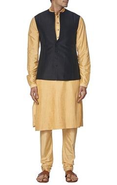 Black raw silk nehru jacket