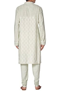 Green printed cotton kurta set