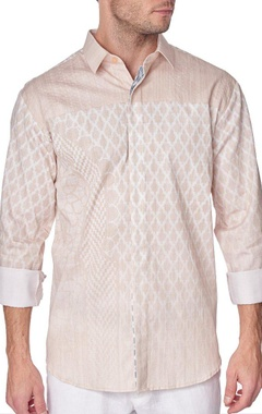 Beige printed cotton shirt