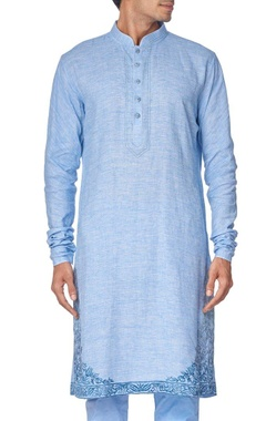 Blue cotton linen embroidered kurta set