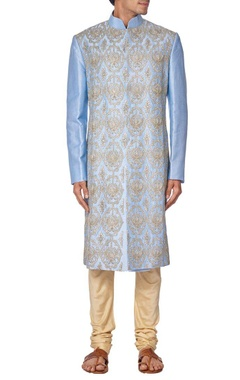 blue silk embroidered sherwani