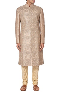 light brown silk embroidered sherwani