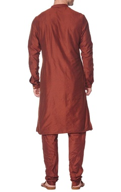 Brown pleated kurta with churidar