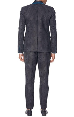 Black suit with grey polka dots