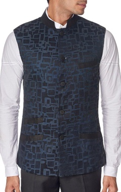 black chanderi nehru jacket