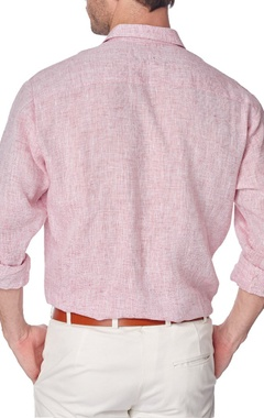 Red cotton linen shirt