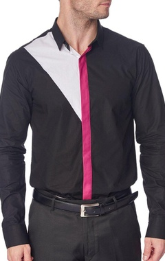 Black shirt with fuschia placket