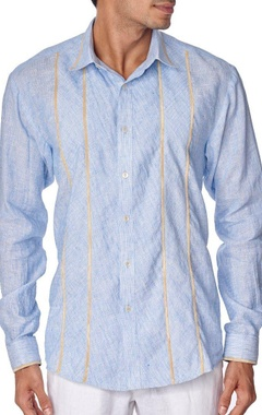 Blue cotton linen shirt