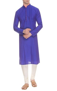 Deep blue diagonal & striped pintuck kurta