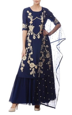 Aneesh Agarwaal Deep blue & gold floral embroidered kurta set