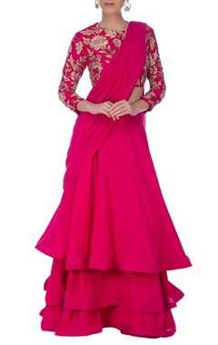 Deep pink & gold floral embroidered sari lehenga set