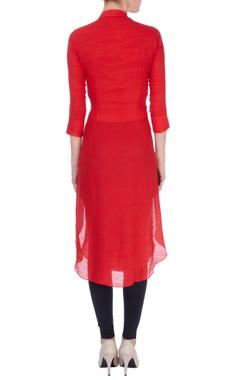 Red bird embroidered kurta