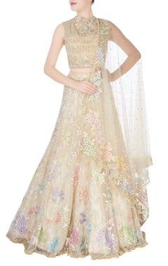 Cream white bead embellished lehenga