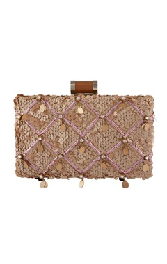 Beige clutch with sequin work