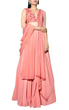 Carnation pink floral embroidered lehenga set