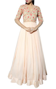 peach anarkali with floral embroidered bodice
