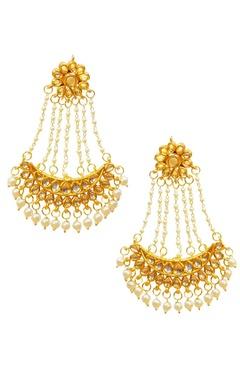 gold plated kundan & pearl chand earrings