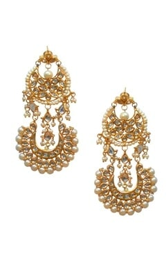 Gold plated double chand pearl & kundan earrings