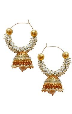 gold plated pearl hoop jhumkas