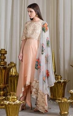 Peach and sky grey asymmetrical sequined kurta and churidar set