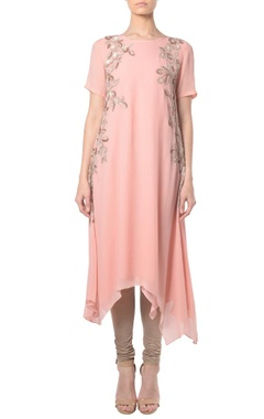 Blush pink floral embroidered tunic with churidar