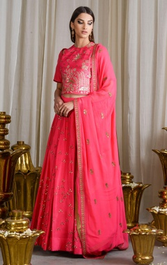 Bright pink thread and sequined detailed lehenga set