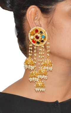 Gold plated multi colored stone with pearl jhumkas
