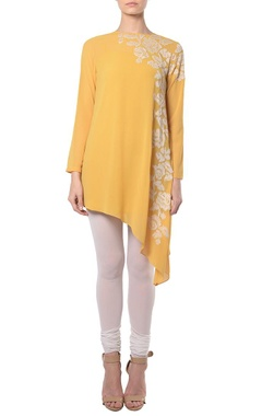 Yellow rose ikat embroidered tunic