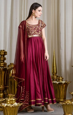 Grape hued sequin embellished anarkali set