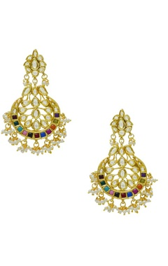 Gold plated multi colored stone earrings