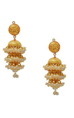 gold plated jhumkas with pearl