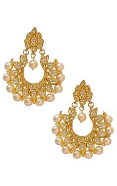 gold finish kundan pearl chand earrings