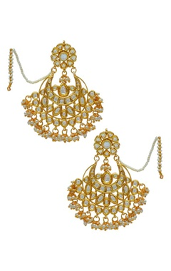 Gold plated kundan chand earring with extension