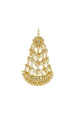 Gold plated kundan & pearl floral passa