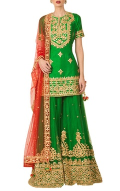 Preeti S Kapoor Emerald green gota patti sharara set