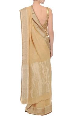 Beige, brown & silver checkered linen sari