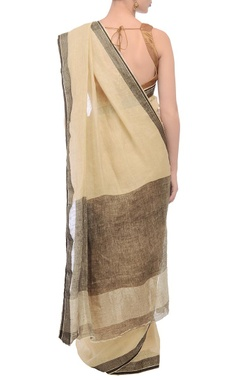 Soft beige & black jacquard linen sari