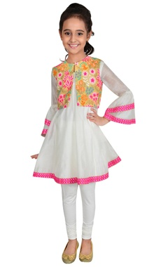 Ivory & multi-colored chanderi suit