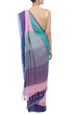 Pink border handwoven linen sari