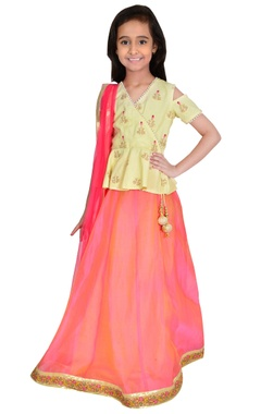 yellow & red cotton & chanderi embroidery lehenga