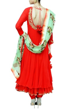 Red and pista floral printed embroidered kurta set