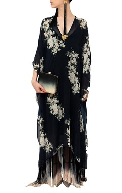 Black floral fringed dress