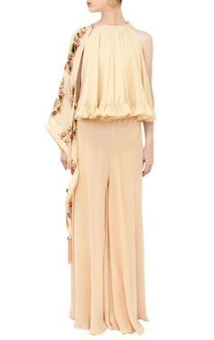 Champagne ruffle top with sharara & floral scarf