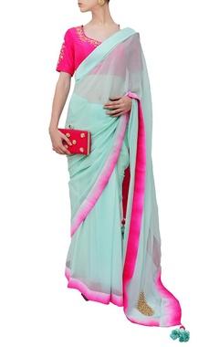 Mint and fuschia embroidered sari