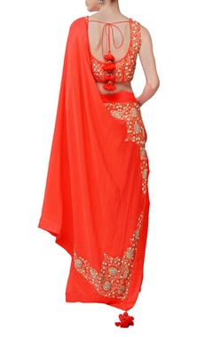 Orange floral embroidered sari