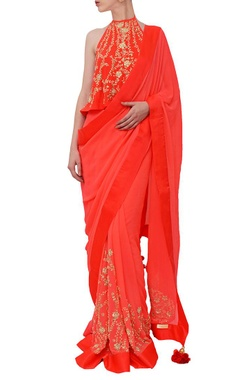 Coral red embroidered sari