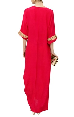 Deep pink embroidered cowl dress