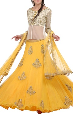Canary yellow & cream embroidered lehenga set