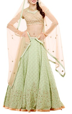 Pista green& peach embroidered lehenga set